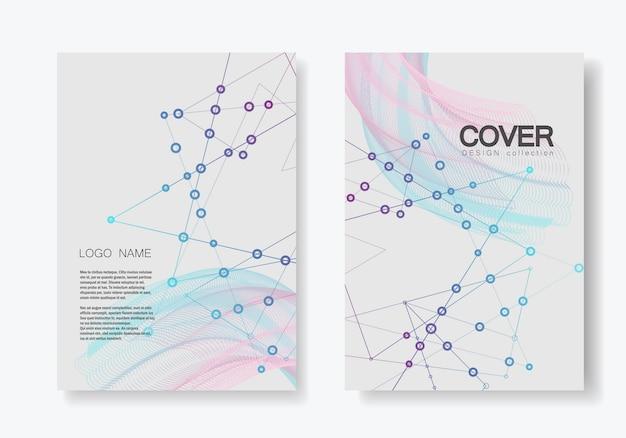 Forma geométrica poligonal abstrata com estilo de estrutura da molécula. brochura de capa de linhas e pontos de conexão