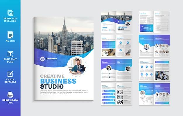 Forma gradiente de cor azul modelo de folheto de perfil da empresa ou design de folheto de várias páginas