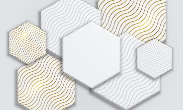 Forma hexagonal geométrica abstrata branca e dourada sobreposta de fundo.
