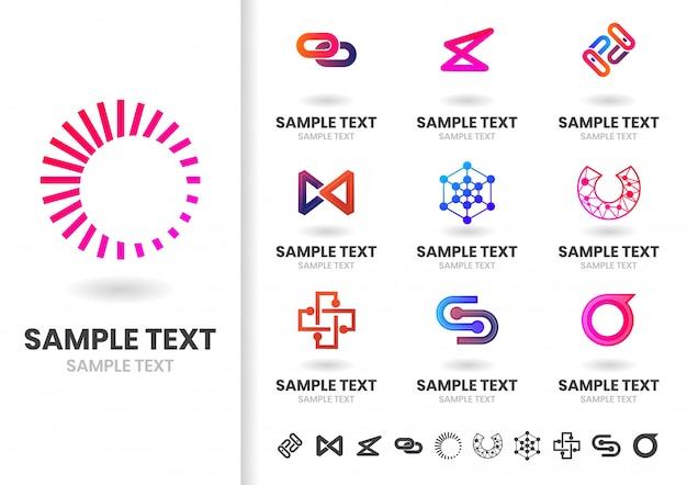 Forma moderna vetor logotipo ou logotipo modelo conjunto