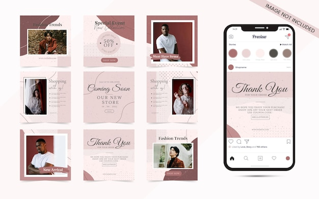 Forma orgânica com conjunto abstrato de banner de feed de postagem de mídia social para venda de moda quadrada do instagram ou promoção de blogueira de beleza