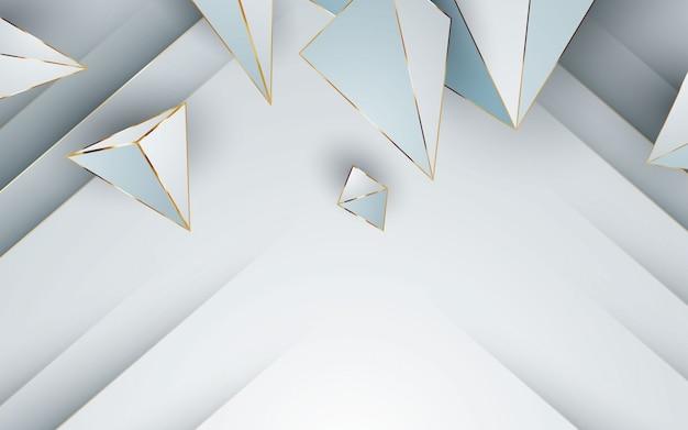 Forma poligonal de linha dourada com fundo branco moderno
