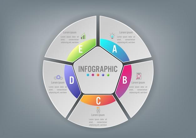 Forma poligonal do negócio infográfico modelo