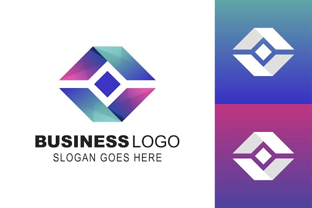 Forma quadrada e entrega expressa em caixa com modelo de logotipo de negócios de símbolo de pacote