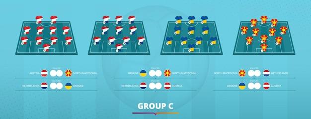 Formação da equipe de futebol 2020 do grupo ð¡. seleção de equipes e jogos de grupo dos participantes da competição de futebol europeu. molde do vetor.