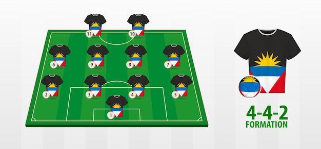 Formação da seleção antígua e barbuda de futebol no campo de futebol.