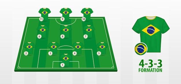 Formação da seleção brasileira de futebol no campo de futebol.