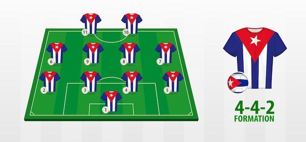 Formação da seleção cubana de futebol no campo de futebol.