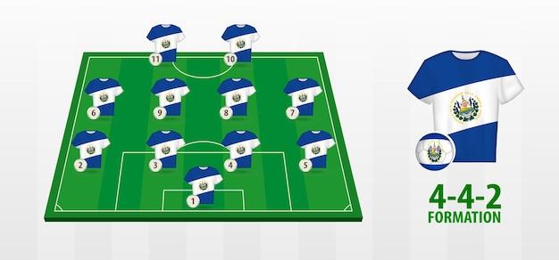 Formação da seleção el salvador de futebol no campo de futebol.