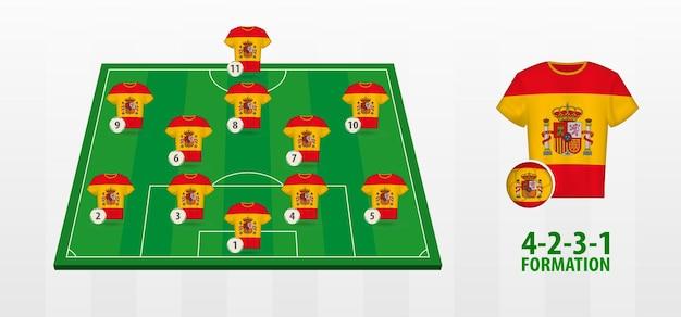 Formação da seleção espanhola de futebol no campo de futebol.