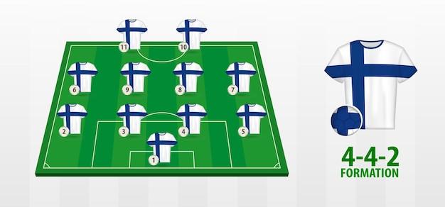 Formação da seleção finlandesa de futebol no campo de futebol.