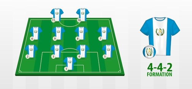 Formação da seleção guatemala de futebol no campo de futebol.