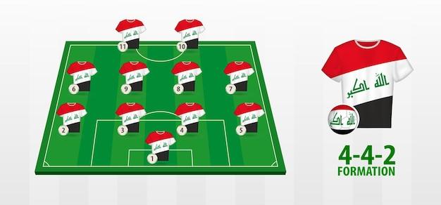 Formação da seleção iraquiana de futebol no campo de futebol
