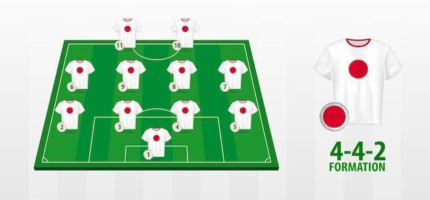 Formação da seleção japonesa de futebol no campo de futebol.