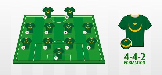 Formação da seleção nacional de futebol da mauritânia no campo de futebol.