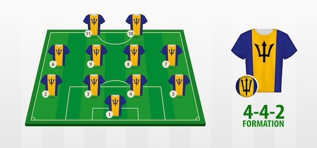 Formação da seleção nacional de futebol de barbados no campo de futebol.