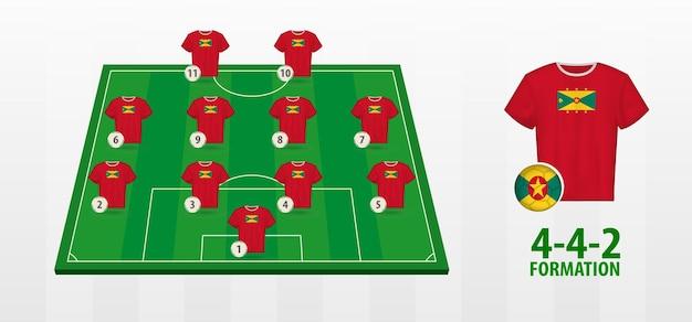 Formação da seleção nacional de futebol de grenada no campo de futebol.