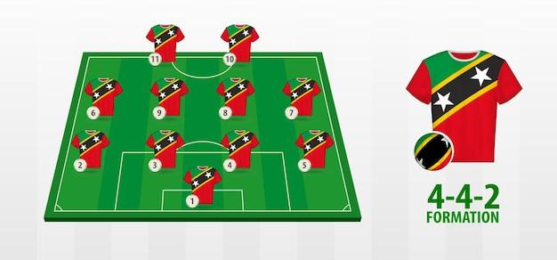Formação da seleção nacional de futebol de são cristóvão e nevis no campo de futebol.