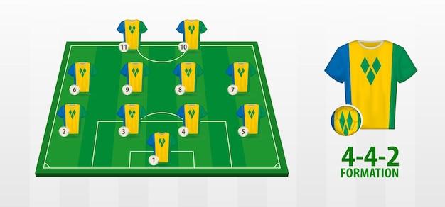 Formação da seleção nacional de futebol de são vicente e granadinas no campo de futebol.