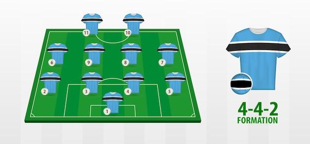Formação da seleção nacional de futebol do botswana no campo de futebol.