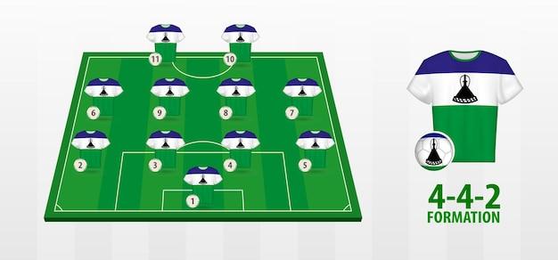 Formação da seleção nacional de futebol do lesoto no campo de futebol.