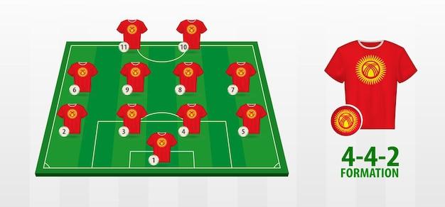 Formação da seleção nacional de futebol do quirguistão no campo de futebol.