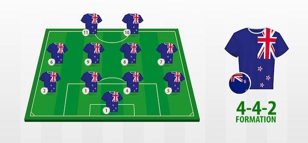 Formação da seleção neozelandesa de futebol no campo de futebol.