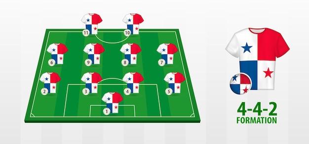 Formação da seleção panamenha de futebol no campo de futebol.