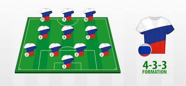 Formação da seleção russa de futebol no campo de futebol.