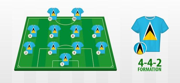 Formação da seleção santa lúcia no campo de futebol.