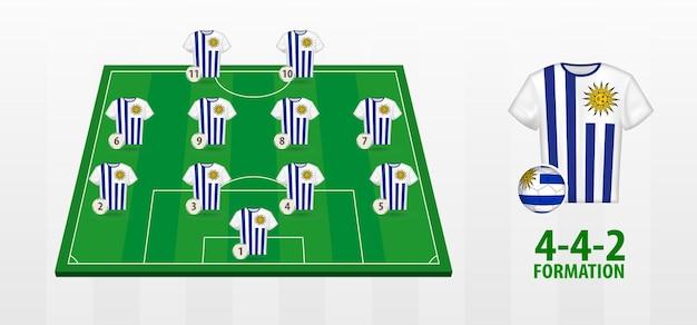 Formação da seleção uruguaia de futebol no campo de futebol.