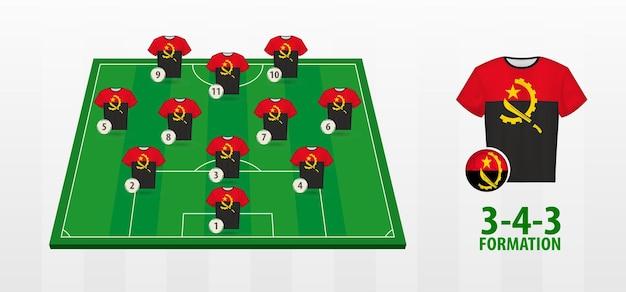 Formação da selecção nacional de futebol de angola no campo de futebol.