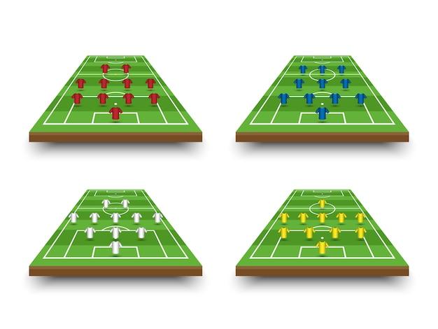 Formação de formação de futebol e táticas no campo de perspectiva