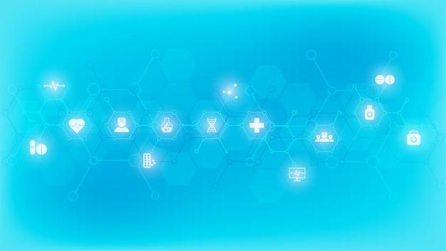 Formação médica com ícones e símbolos planos
