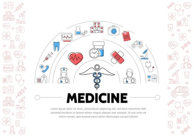 Formação médica com ícones