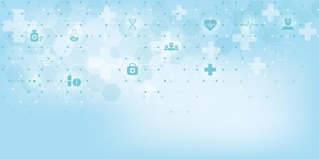 Formação médica com símbolos e ícones planas