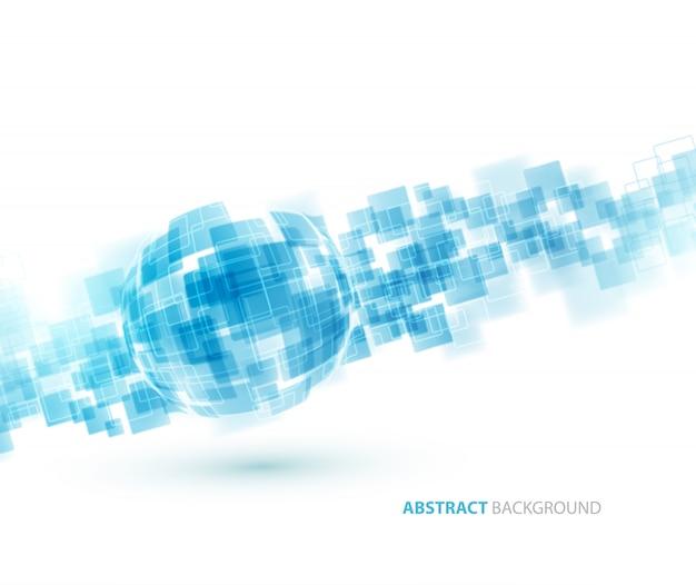 Formação técnica de quadrados brilhantes azuis.