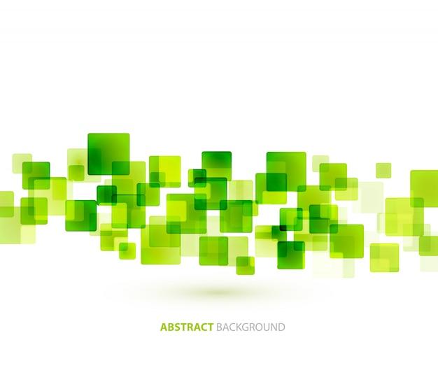 Formação técnica de quadrados brilhantes verdes.