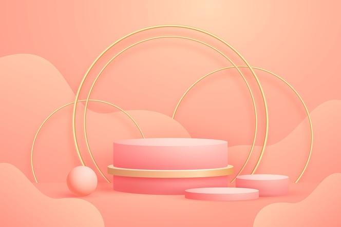 Formas 3d geométricas abstratas realistas com folha de ouro