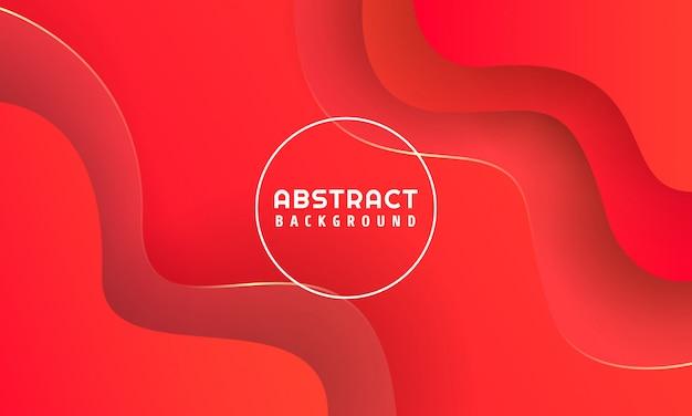 Formas abstratas 3d dinâmicas com fundo vermelho,