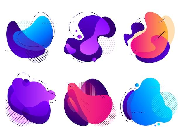 Formas abstratas coloridas, fluxo de gradientes de fluido saturado, forma orgânica com linhas e padrões pontilhados