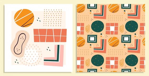 Formas abstratas, conjunto de ilustrações de figuras. círculos e triângulos doodle coleção de desenhos de cores. abstração, mão desenhada sem costura padrão formas geométricas pacote isolado