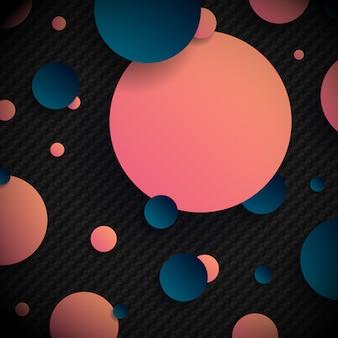 Formas abstratas de círculos azuis e rosa 3d