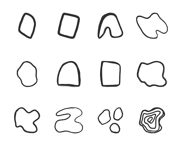 Formas abstratas de linhas desenhadas à mão livre
