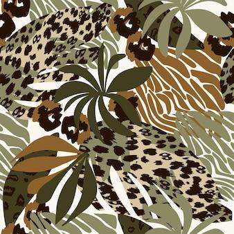 Formas abstratas de padrão natural sem costura e plantas de folhas verdes em um fundo branco