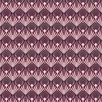 Formas abstratas de palma com padrão art déco em ouro rosa