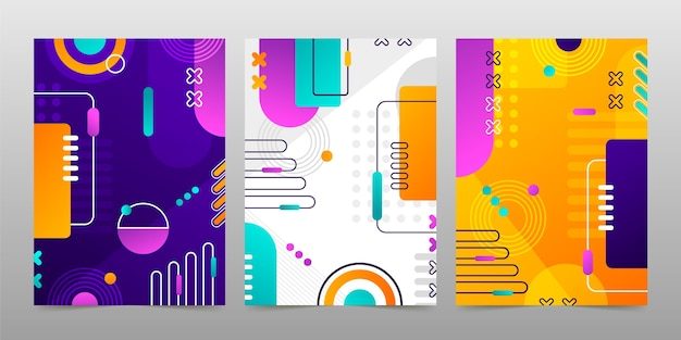 Formas abstratas gradientes cobrem a coleção
