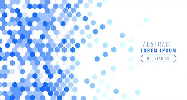 Formas abstratas hexahonais em tons de azuis