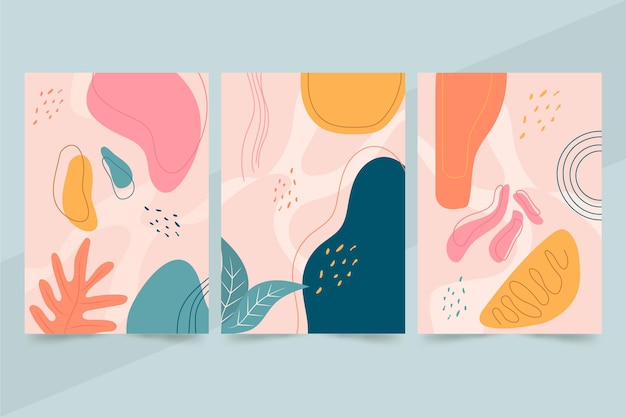 Formas abstratas mão desenhada abrange pacote