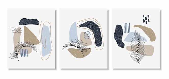 Formas abstratas mínimas e folha de arte de linha